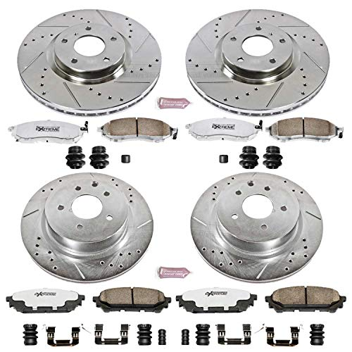 1711 FRONT KIT CERAMIC Pads Platinum Hart *DRILLED /& SLOTTED* Brake Rotors